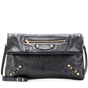 Balenciaga black clutch with gold hardware